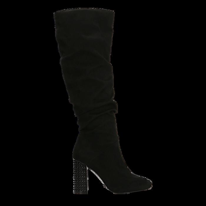 Stivali neri scamosciati con gambale drappeggiato, tacco alto 9,5cm, Primadonna, 124911102MFNERO