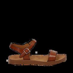 Sandali flat cuoio in eco-pelle, Primadonna, 112200341EPCUOI038, 001a