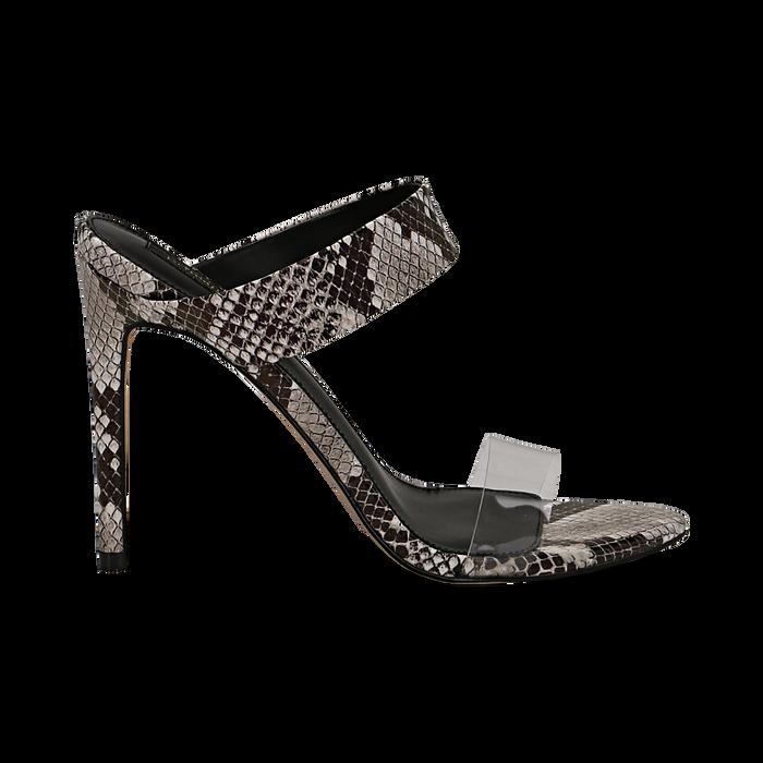 Sandali con punta affusolata nero/bianchi in eco-pelle, listino in pvc, tacco 11 cm, Sandali con tacco, 131732601PTNEBI035