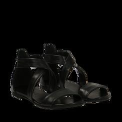 Sandali flat neri in pelle, Zapatos, 157713322PENERO036, 002a