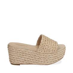 Zapatillas de rafia beige, cuña de 8,5 cm, 172709371RFBEIG039, 001a