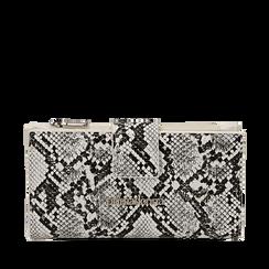 Portafogli bianco/nero in eco-pelle snake print, Primadonna, 155122158PTBINEUNI, 001a
