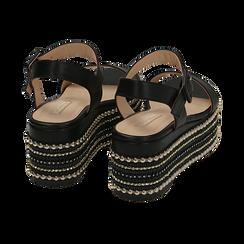 Sandali neri in eco-pelle, zeppa 7 cm , Primadonna, 154932211EPNERO035, 004 preview