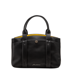 Mini bag nero-gialla in ecopelle, Saldi Borse, 122323219EPNEGIUNI, 001a