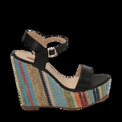 Sandali neri in eco-pelle, zeppa 12 cm , Primadonna, 154917229EPNERO035, 001a