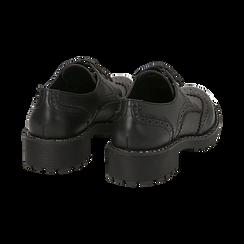 Stringate nere in eco-pelle con suola carrarmato , Primadonna, 140619267EPNERO036, 004 preview
