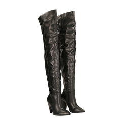 Stivali sopra il ginocchio gambale largo, tacco a cono 7,5 cm, Scarpe, 124911289EPNERO036, 002