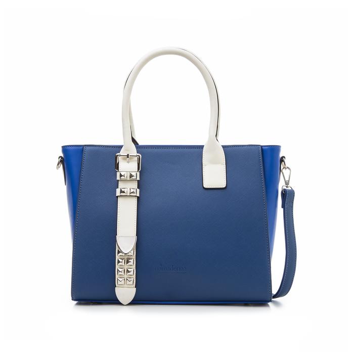 Borsa grande blu in eco-pelle con borchie, Borse, 131900944EPBLUEUNI