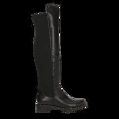 Stivali neri con gambale lungo elasticizzato, tacco basso, Primadonna, 120682917EPNERO, 001 preview