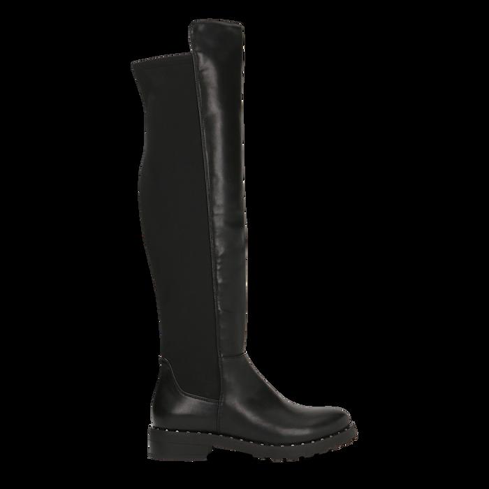 Stivali neri con gambale lungo elasticizzato, tacco basso, Primadonna, 120682917EPNERO