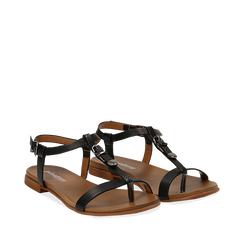 Sandali neri in eco-pelle, Primadonna, 13B915101EPNERO035, 002a
