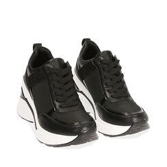Sneakers nere in tessuto, zeppa 8,5 cm , Primadonna, 182817932TSNERO035, 002a