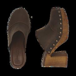 Clogs testa di moro in nabuk , Zapatos, 154304861NBMORO037, 003 preview