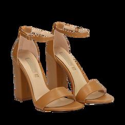 Sandali minimal cuoio in eco-pelle, tacco 10,5 cm , Sandali con tacco, 132133791EPCUOI036, 002a