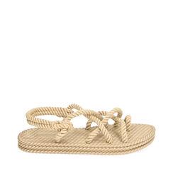 Sandales de plage en tissu beige, 170909002TSBEIG035, 001a