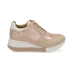 Dad shoes en satin nude, Chaussures, 152821511RSNUDE, 001 preview
