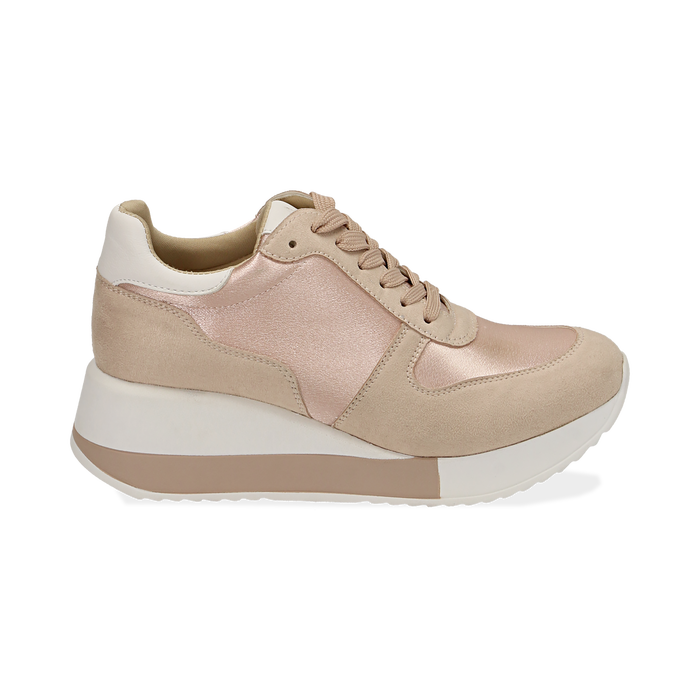 Dad shoes en satin nude, Chaussures, 152821511RSNUDE