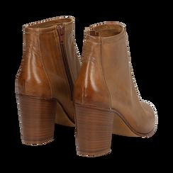 Ankle boots in vera pelle cuoio con tacco in legno 8 cm, Scarpe, 137725901PECUOI039, 004 preview