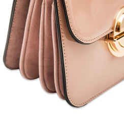 Borsa a tracolla rosa nude in ecopelle vernice, Saldi, 122408030VENUDEUNI, 004 preview