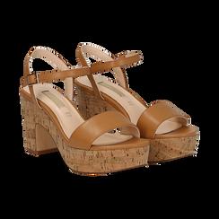 Sandali cuoio in eco-pelle, tacco in sughero 9 cm, Primadonna, 138402256EPCUOI036, 002 preview