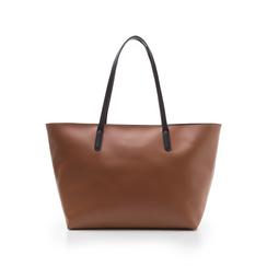 Maxi-bag cuoio in eco-pelle con manici neri, Borse, 133783134EPCUOIUNI, 003 preview