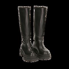 Stivali chunky neri in pelle di vitello, tacco 4 cm, Primadonna, 16A500050VINERO035, 002a
