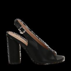Slingback nere open-toe in eco-pelle, tacco 10 cm, Primadonna, 132708372EPNERO036, 001a