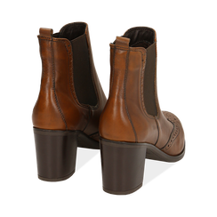 Ankle boots cuoio in pelle, tacco 7,50 cm, Primadonna, 167738004PECUOI036, 004 preview