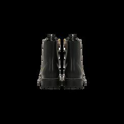 Anfibi neri con mini-borchie, tacco basso, Scarpe, 120691311EPNERO, 003 preview