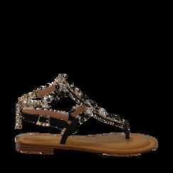 Sandali gioiello flat neri in eco-pelle, Primadonna, 134988245EPNERO035, 001a