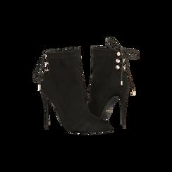 Tronchetti neri con coulisse, tacco stiletto 11,5 cm, Scarpe, 122116005MFNERO, 005 preview