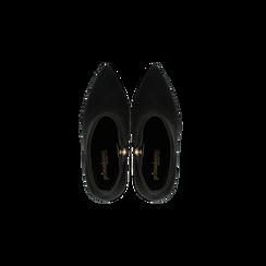 Tronchetti neri scamosciati, tacco stiletto 11 cm, Scarpe, 122168615MFNERO, 004 preview