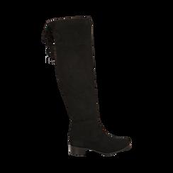 Overknee neri in microfibra, tacco 4 cm , Stivali, 143009807MFNERO035, 001a