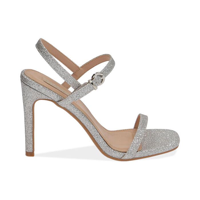 Sandales à paillettes argentées, talon de 10,5 cm, Primadonna, 172793510GLARGE035