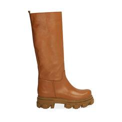Botas de piel en cuero, tacón 4 cm, Primadonna, 17L666810VICOGN038, 001a