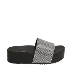 Ciabatte platform nere in pvc, suola 5 cm , 154700072PVNERO035, 001a