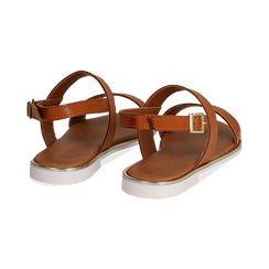Sandali flat cuoio in eco-pelle, Primadonna, 136102086EPCUOI036, 004 preview
