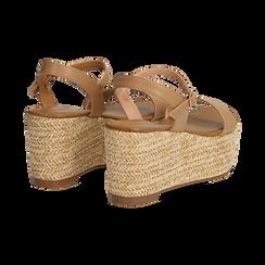 Sandali platform cuoio in eco-pelle, zeppa in corda 8 cm, Saldi Estivi, 134983293EPCUOI035, 004 preview