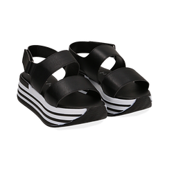 Sandali platform neri in eco-pelle, Scarpe, 136700207EPNERO036, 002 preview