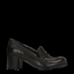 Mocassini dècolleté neri, tacco medio 4 cm, 128900016VINERO035, 001a