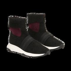 Sneakers nero-rosse sock boots con suola in gomma bianca, Primadonna, 124109763TSNERS036, 002 preview