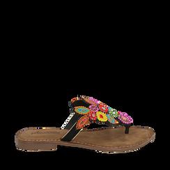 Ciabatte infradito nere in camoscio , Chaussures, 15K808334CMNERO035, 001a