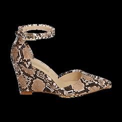 Escarpins en simili-cuir beige imprimé python, compensé 8,5 cm , Chaussures, 152151841PTBEIG036, 001 preview