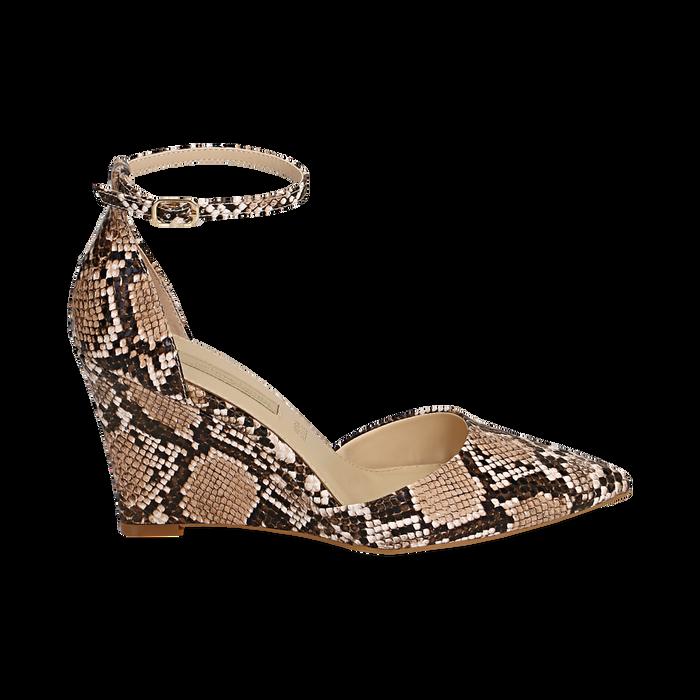 Escarpins en simili-cuir beige imprimé python, compensé 8,5 cm , Chaussures, 152151841PTBEIG036