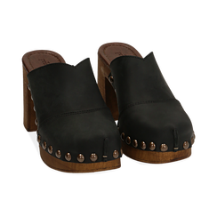 Clogs neri in nabuk , Chaussures, 154304861NBNERO036, 002 preview