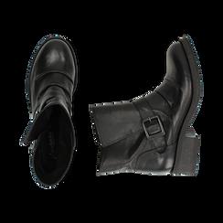 Biker boots neri con fibbia in pelle, tacco 4 cm , Primadonna, 147718215PENERO035, 003 preview