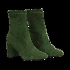 Ankle boots verdi in microfibra, tacco 7,5 cm , Stivaletti, 143072170MFVERD036, 002 preview