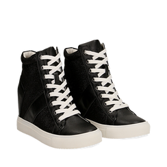 Sneakers nere in ecopelle con zeppa, Scarpe, 132005004EPNERO035, 002a