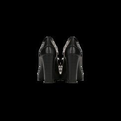 Mocassini décolleté neri con plateau, tacco 10 cm, Scarpe, 128401249EPNERO, 003 preview