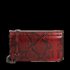 Pochette rossa in eco-pelle snake print, Primadonna, 145122779PTROSSUNI, 001a